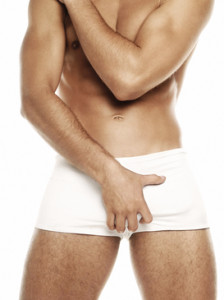 man in white underwear
